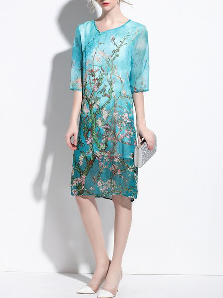 Half Sleeve Elegant Shift Floral Midi Dress