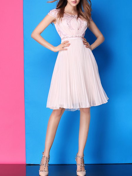 Pink A-line Cocktail Pleated Midi Dress