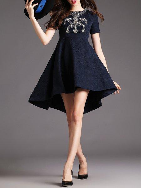 Dark Blue Crew Neck Asymmetrical Cocktail Midi Dress