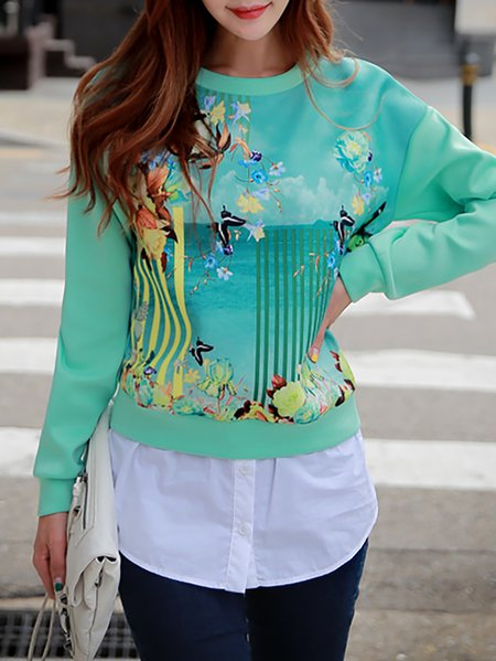 Long Sleeve H-line Floral-print Casual Sweatshirt
