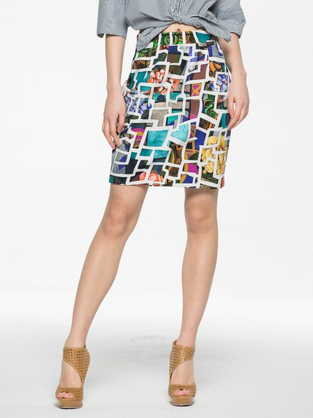 Multicolor Printed Polyester Abstract Casual Mini Skirt
