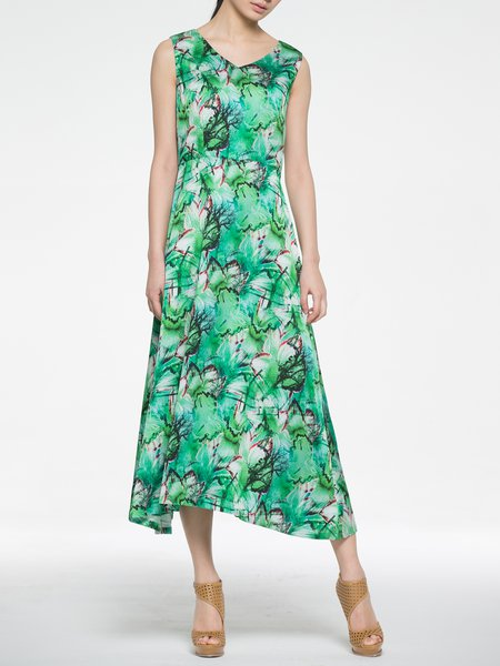 Green Sleeveless Silk Midi Dress