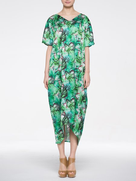 Green Casual V Neck Midi Dress