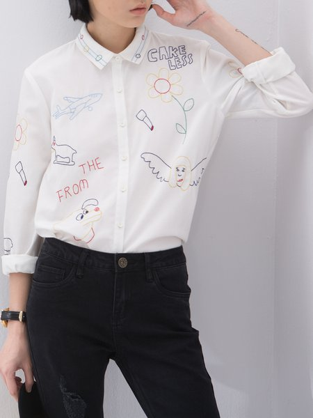 Long Sleeve Casual V Neck Embroidered Blouse