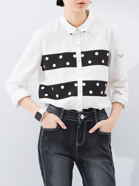 Printed Casual Polka Dots Long Sleeve Blouse