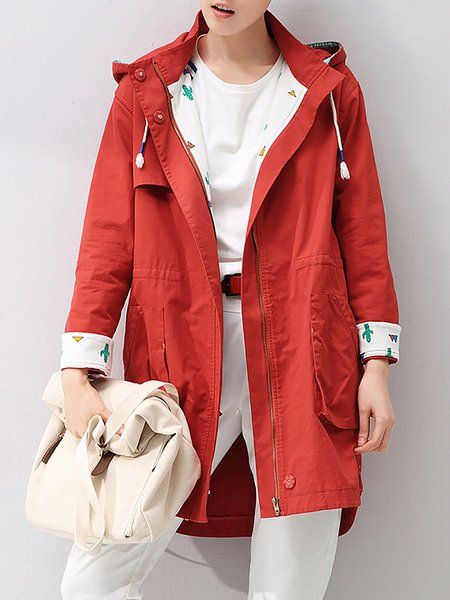 Wine Red Long Sleeve Hoodie Coat