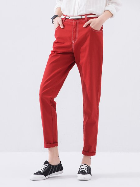 Wine Red Pockets Casual Cotton Straight Leg Pants