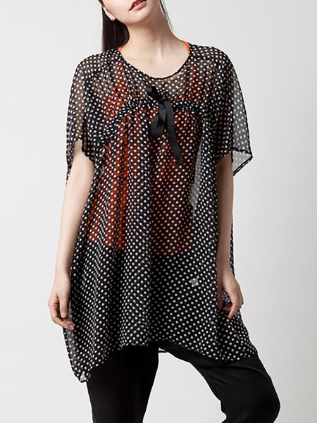 Casual Short Sleeve Bow Polka Dots V Neck Blouse