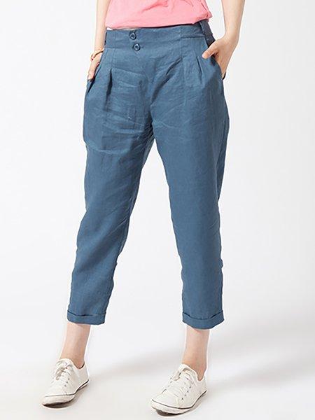 Blue Linen Plain Casual Pockets Cropped Pants