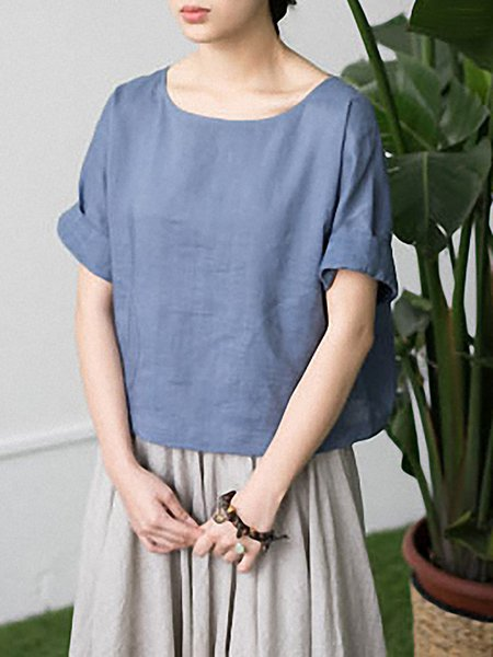 Casual Half Sleeve Linen Short Sleeved Top