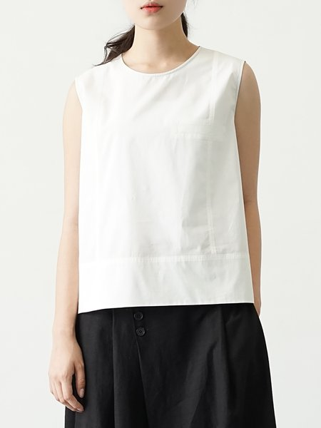 White Sleeveless Plain Asymmetric High Low Tank