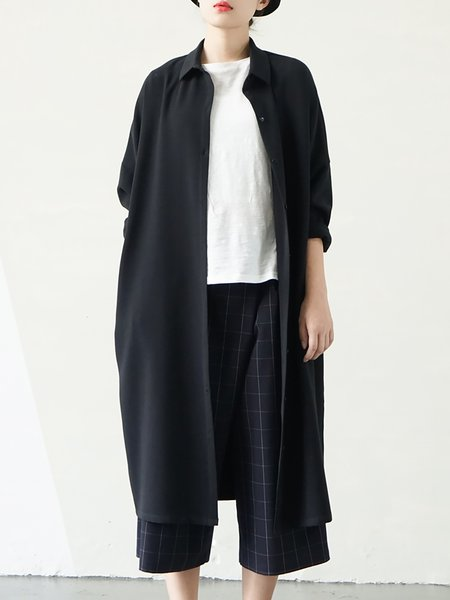 Black Pockets Shirt Collar Long Sleeve Coat