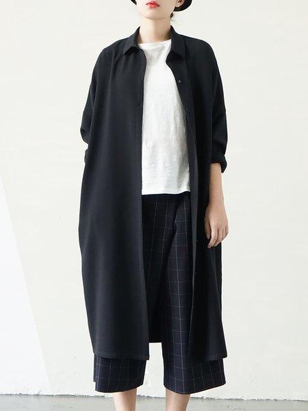 Black Pockets Shirt Collar Long Sleeve Coat