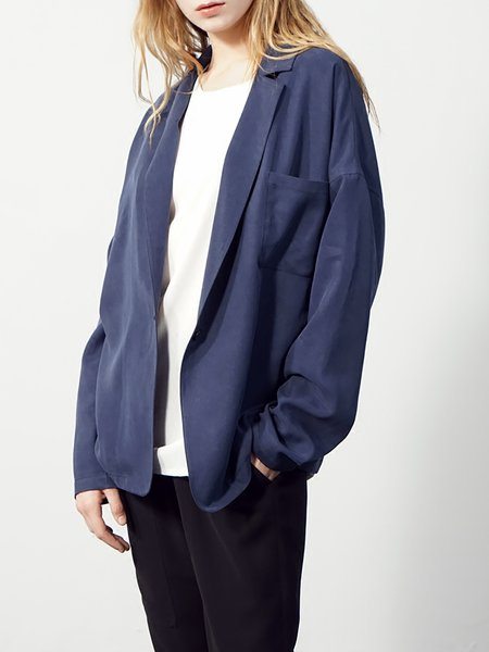 Navy Blue Casual Plain Pockets Blazer