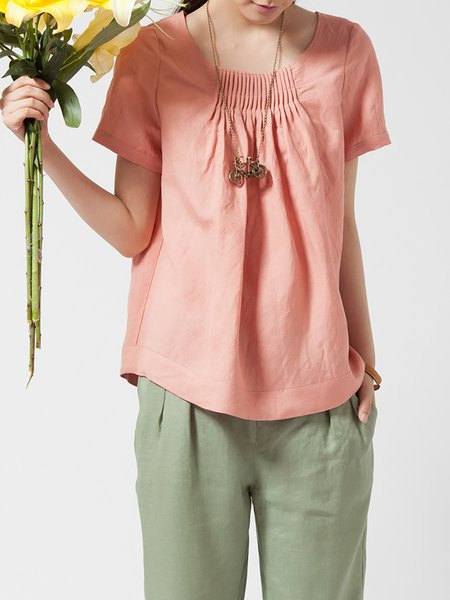 Pink Casual Linen Short Sleeved Top