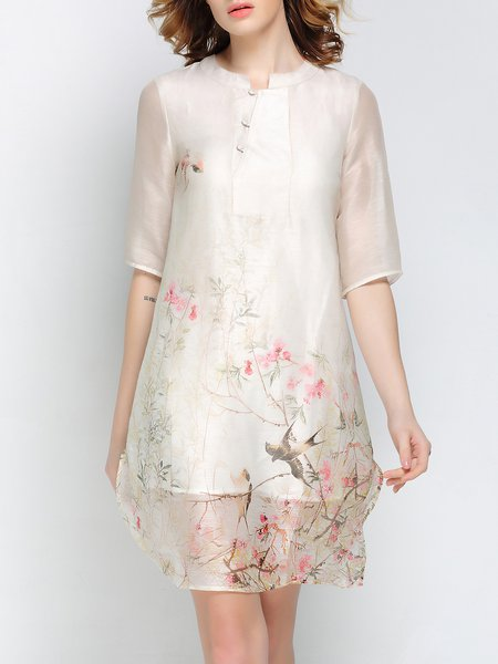 Multicolor Casual Silk-Ramie Mini Dress