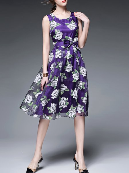 Polyester Cocktail Sleeveless Midi Dress