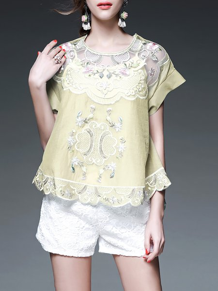 Floral Sweet Short Sleeve Short Sleeved Top