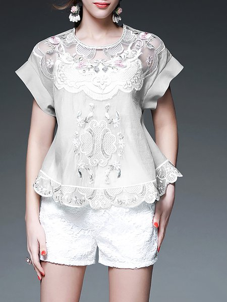 Sweet Short Sleeve H-line Polyester Floral Short Sleeved Top