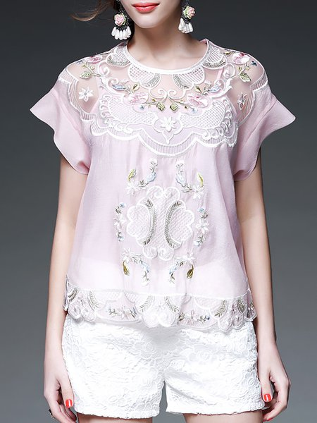 Pink H-line Short Sleeve Floral Polyester Short Sleeved Top