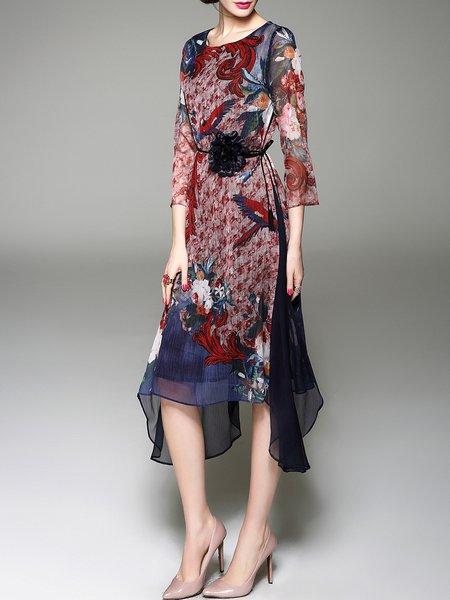 Red Crew Neck Printed 3/4 Sleeve Midi Dress