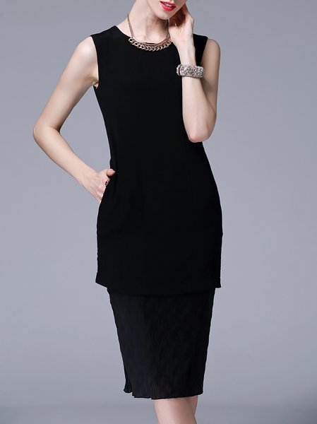 Simple Silk Crew Neck Sheath Sleeveless Midi Dress