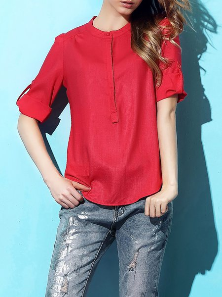 Red Half Sleeve Plain Linen Short Sleeved Top