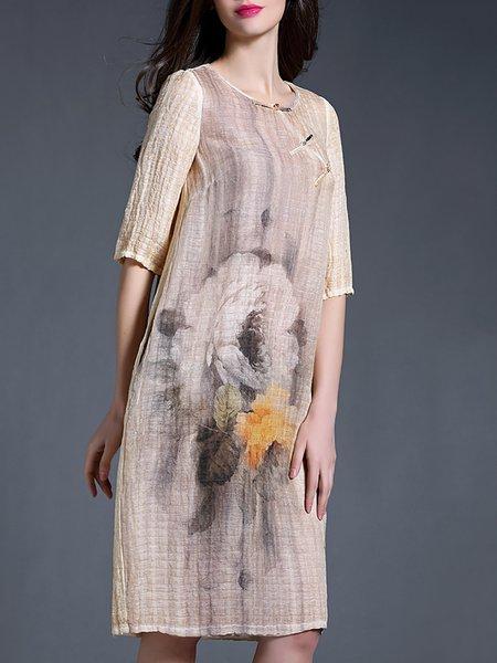 Half Sleeve Vintage Floral Printed Midi Dress