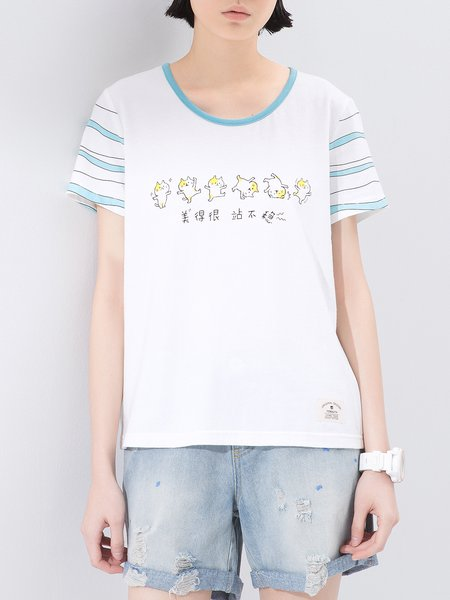 Casual Cotton Animal Print Crew Neck Short Sleeve T-Shirt