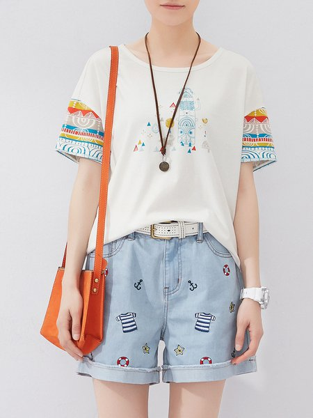 Printed Cotton Casual Short Sleeve T-Shirt