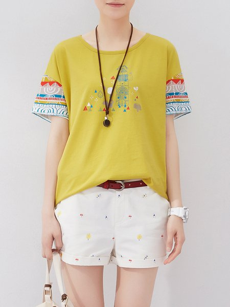 Yellow Crew Neck Cotton Casual T-Shirt