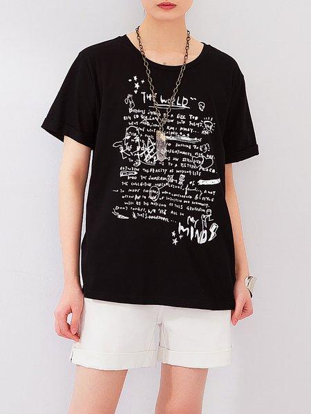 Black Short Sleeve Crew Neck T-Shirt