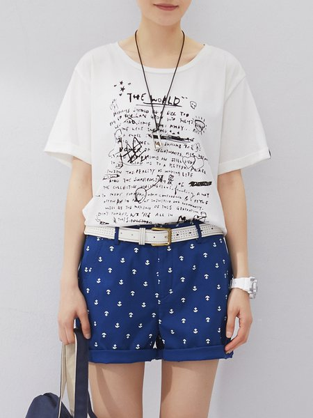 White Printed Casual Crew Neck Letter T-Shirt