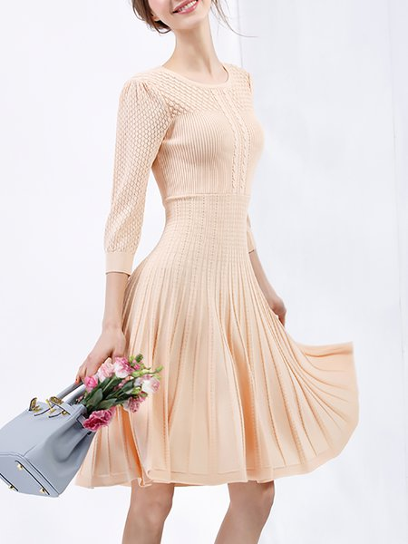 Apricot Crew Neck Half Sleeve Midi Dress
