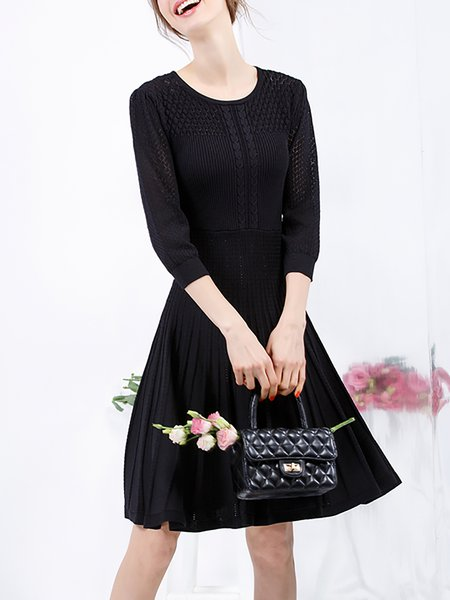 Black Plain Pleated Casual Midi Dress
