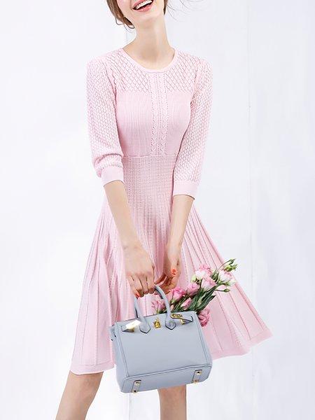 Pink Cotton-blend 3/4 Sleeve Midi Dress