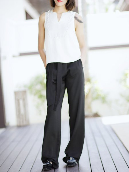 Black Pockets Acetate Plain Casual Wide Leg Pants