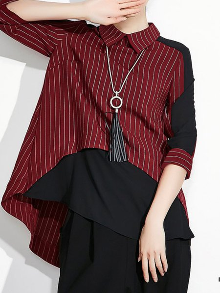 Red Paneled 3/4 Sleeve Blouse