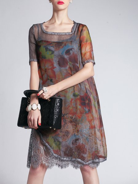 Casual Printed Silk Short Sleeve Two Piece Floral Midi Dress