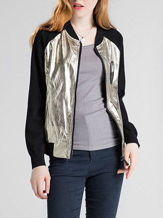 Golden Zipper Cotton-blend Casual Bomber Jacket