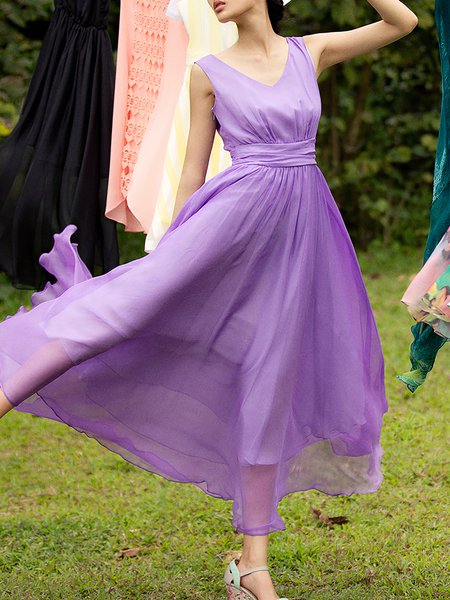 Purple Elegant A-line V Neck Maxi Dress