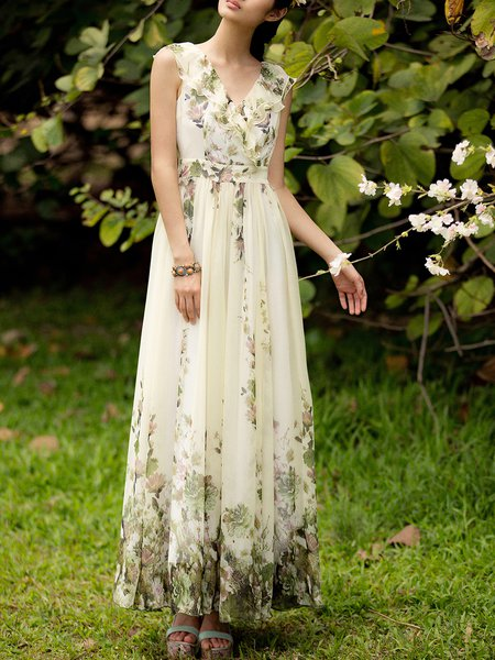 Beach Chiffon Floral A-line Sleeveless Maxi Dress