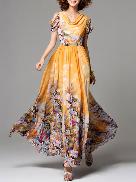 Yellow Floral-print Chiffon Boho Maxi Dress