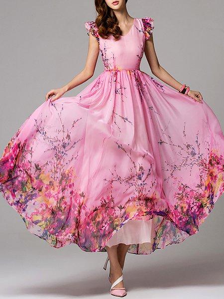 Pink Floral Frill Sleeve V Neck Maxi Dress