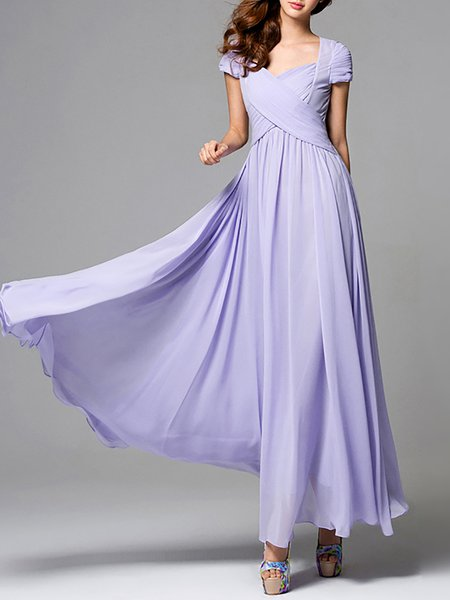 Elegant Chiffon Short Sleeve Swing Maxi Dress