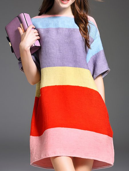 Multicolor Casual Cotton-blend Shift Color-block Mini Dress