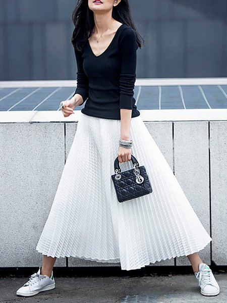 White Plain Polyester Casual Maxi Skirt