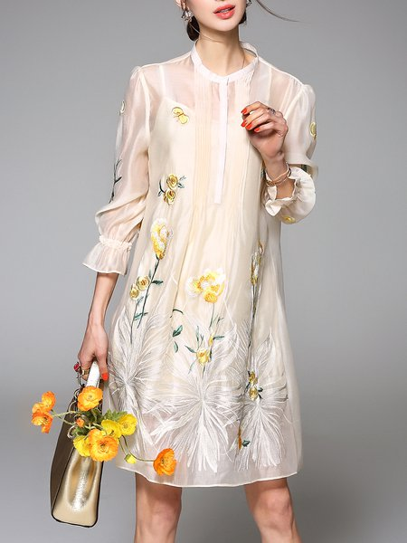 Yellow Two Piece 3/4 Sleeve Organza Floral Mini Dress