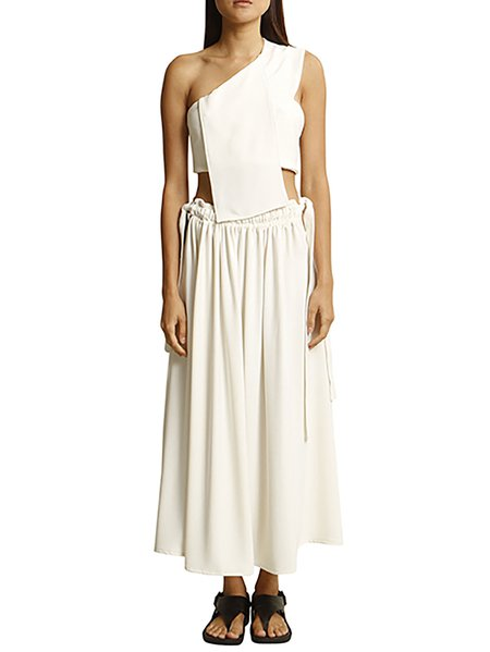 Cream Polyester Plain Casual Maxi Skirt