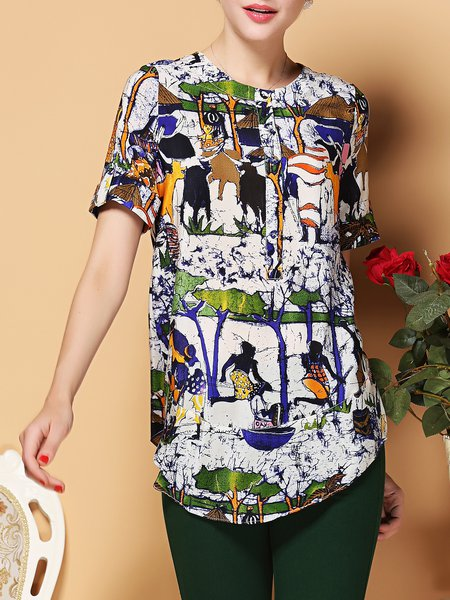 Tribal Short Sleeve H-line Casual Blouse